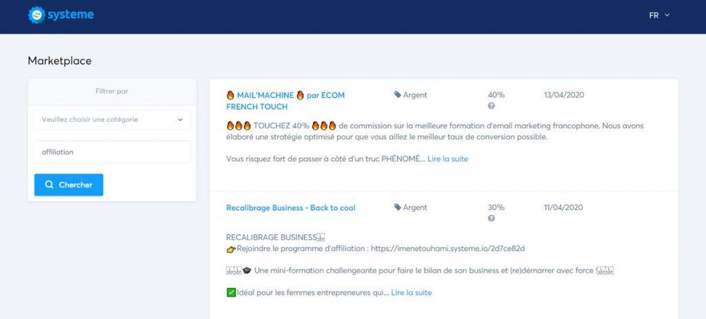 marketplace - systeme.io